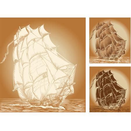 steuerruder: Satz von Farbe Hintergrund mit alten Schiff Illustration