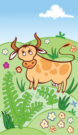 cute cow grazing in a meadow Stock Vector - 9828059