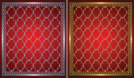 lattice window: gold grid against deep red background Illustration