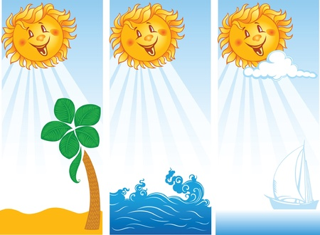 three summer banners with smiling sun  Vector