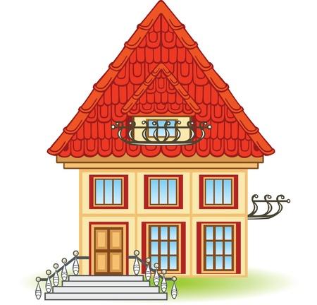 balcony door: Casa de dibujos animados con techo rojo y balc�n