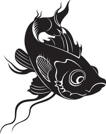 carp fishing: stile di pesce bianco e nero