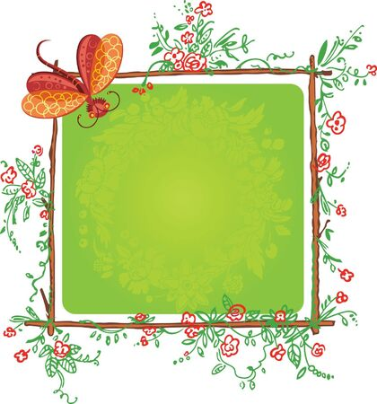 funny floral color frame with butterfly  Vector