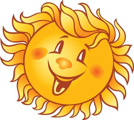 cartoon smiling sun  Çizim