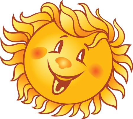 cartoon smiling sun  Illustration