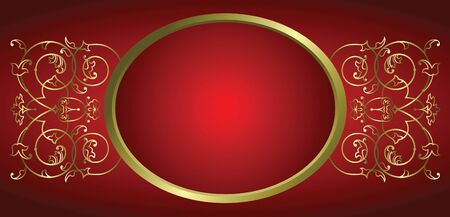 decorative ornament frame against deep red background Vector