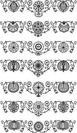 Black decorative ornament floral elements Vector