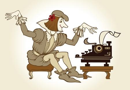 Cartoon oude schrijven dichter  Vector Illustratie