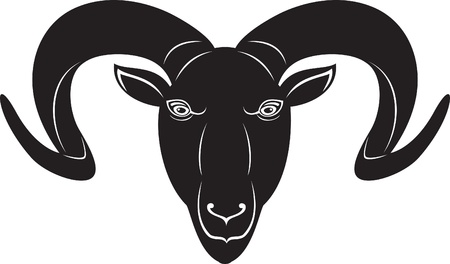 ram sheep: head of the ram. Black and white style