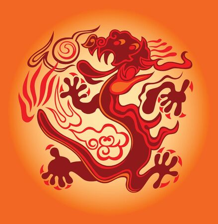 chinese astrology: red dragon against bright background