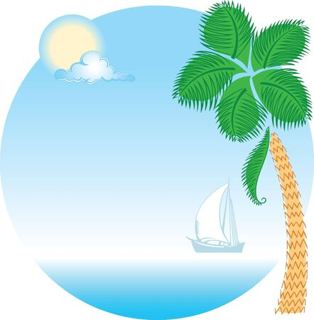 Sea, sail, sun and palm tree Stock Vector - 9931062