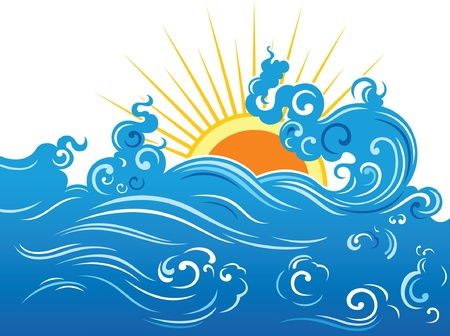 yellow landscape: Blue wave and yellow sun  Illustration