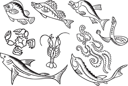 fish silhouette: set of sea animals and fish Illustration