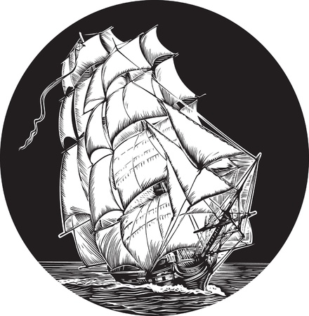 Emblem of old ship with white sail  Illustration