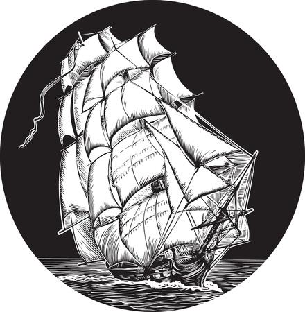 barco pirata: Emblema del viejo barco con velas blancas  Vectores