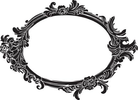 ovalo: Vector negro decorativo marco ovalado Vectores