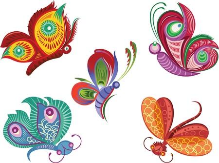 langosta: Ilustración de color de vector de mariposa decorativo y dragonfly