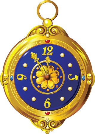 Ancient gold clock with blue dial  Illustration