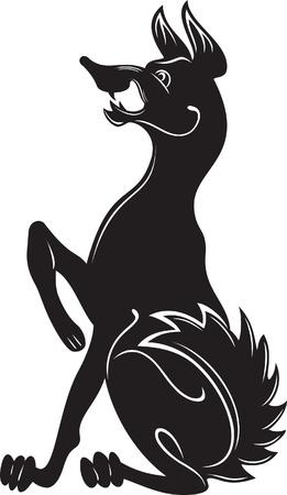 barking: Silhouette nera di un cane che abbaia