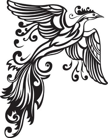 ave fenix: Ilustración vectorial de aves decorativas