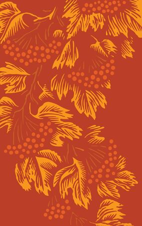 ash: Vector autumn background with leaves and berries