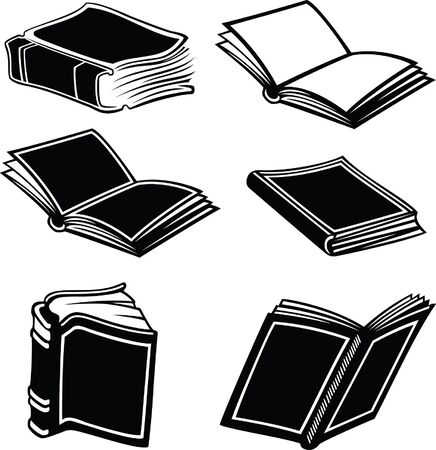 Illustration of books in black and white style  Vector