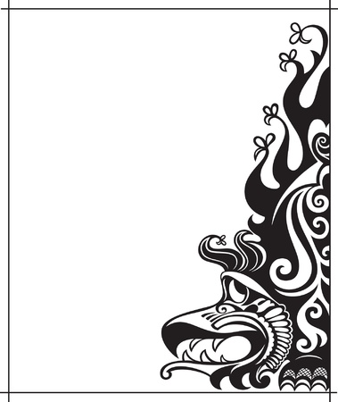 background with amusing black dragon Stock Vector - 11571428