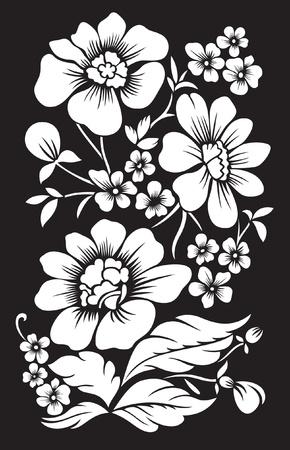 black background with white decor flowers Çizim