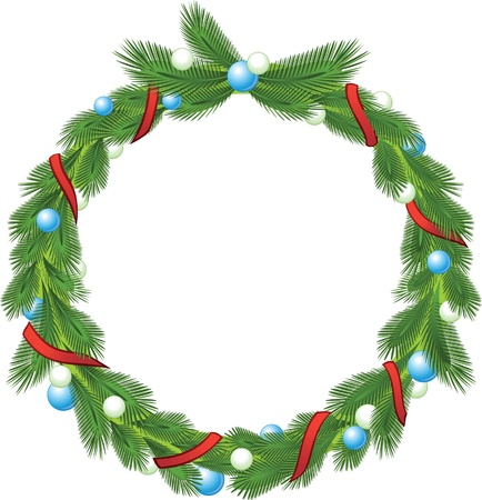 Green christmas pine wreath with decorative ribbons and balls  Illustration