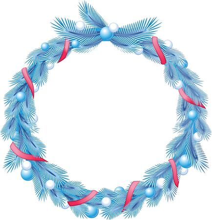 Blue christmas pine wreath with decorative ribbons and balls  Vector