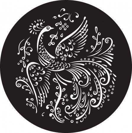 Decorative magic bird in black circle