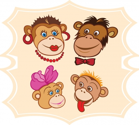 Portrait of cartoon monkey family Stock Vector - 14479878