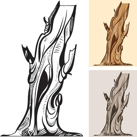 arboles secos: viejo árbol desnudo, tres combinaciones de colores