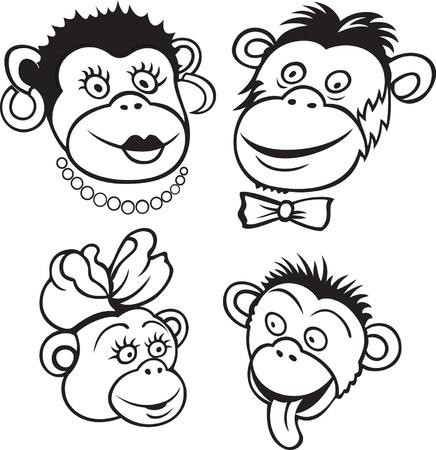 Portrait of cartoon monkey family