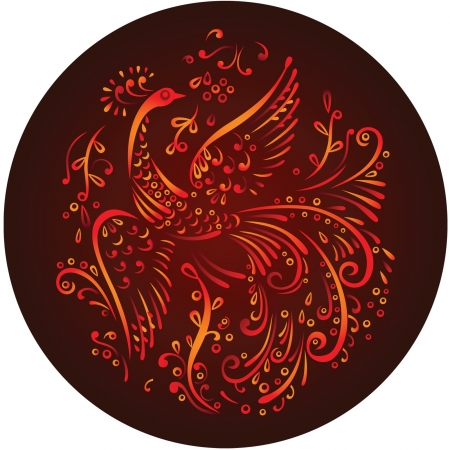 color decorative mythical bird in circle