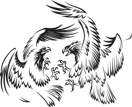 Fighting birds Stock Vector - 15503727