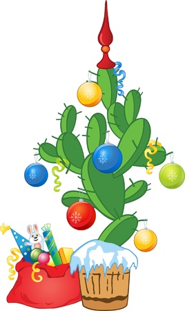 New Year cactus as fir-tree with balls and ribbons Vector