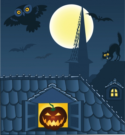 Night town, roofs, cat, owl and bats. Halloween background Vector
