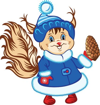 Cartoon little squirrel in the blue fur coat with pinecone Vector