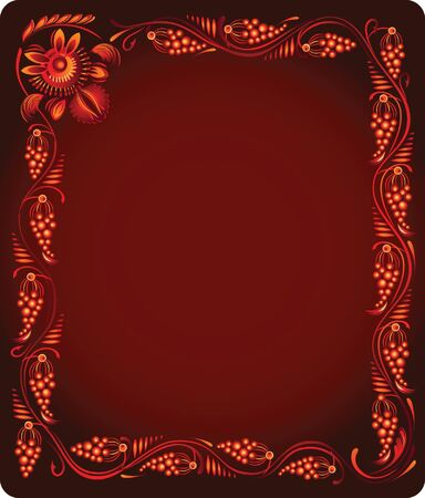 red background with bunches of grapes Vector