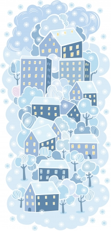 Cartoon winter old town blue background Vector