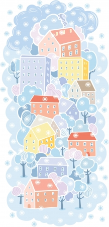 winter old town background Stock Vector - 15447930