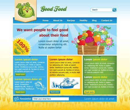 Website template for organic food Vector