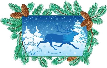 pinetree: fondo de invierno con los ciervos y del �rbol de pino-