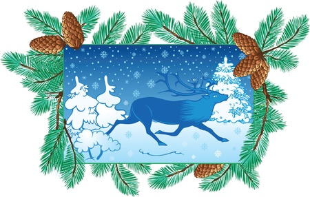 pinetree: winter background with deer and pine-tree