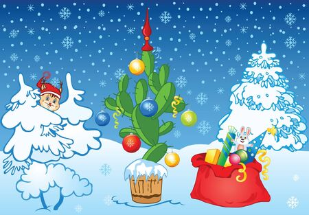 Winter background with New Year cactus, gifts, balls and ribbons Vector
