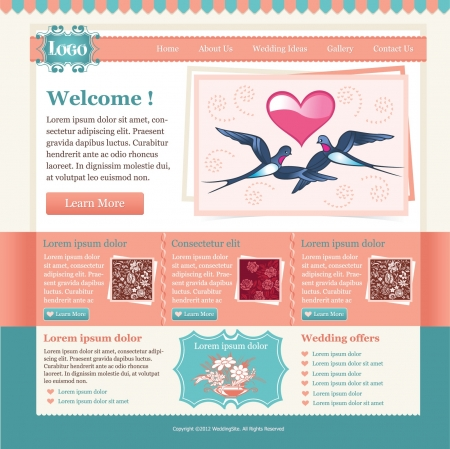 website backgrounds: Elegant Wedding Website template Illustration