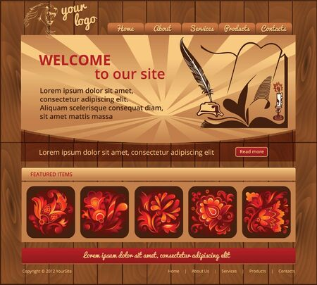 Website template with wood background, vintage style Vector