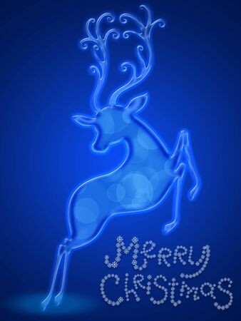 Christmas Card with blue reindeer photo
