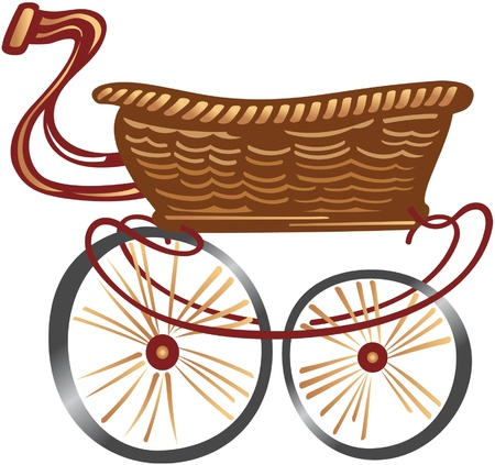Cartoon Shopping Cart from wooden  Vector